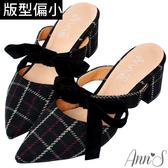Ann'S春季感格紋-蝴蝶結2way粗跟穆勒鞋-黑