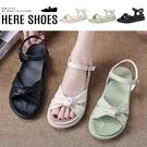 [Here Shoes] 3cm涼鞋 優雅氣質蝴蝶扭結 皮革圓頭厚底扣帶涼拖鞋-KE963