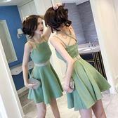 新款女裝夏裝顯瘦小個子心機露背流行修身夜店性感吊帶連身裙   糖糖日系森女屋