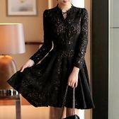 洋裝-長袖黑色鏤空蕾絲修身女連身裙73pu85[巴黎精品]