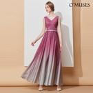 OMUSES V領漸層伴娘婚紗晚宴訂製紫色長禮服