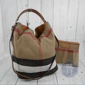 BRAND楓月 BURBERRY 經典 帆布 格紋 拼接 水桶子母包 肩背包 手提包 托特包