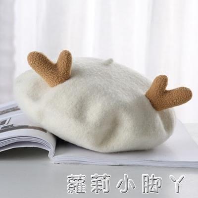日系森系復古貝雷帽女 秋天 純羊毛呢可愛鹿角圣誕蓓蕾帽畫家帽子 蘿莉新品
