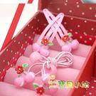 粉櫻桃髮束一對+髮夾一對套組