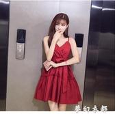 春夏新款氣質裙子仙女超仙森系很仙的法式小個子洋裝吊帶裙夢幻