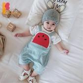 背帶褲男純棉開襠短褲0-1歲女寶寶連體褲子