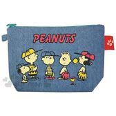 〔小禮堂〕史努比 牛仔布船形化妝包《藍綠.打棒球》收納包.筆袋 4549204-18936