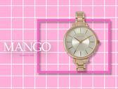 【時間道】MANGO休閒簡約仕女腕錶 / 銀白面玫瑰金鋼帶 (MA6698L-80R)免運費
