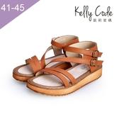 大尺碼女鞋-凱莉密碼-韓版雙帶全真皮厚底防滑羅馬涼鞋2.5cm(41-45)【AS666-8】棕色