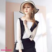 【SHOWCASE】大圓領吊飾透膚蕾絲紗長袖T恤(黑/白)