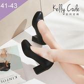 大尺碼女鞋-凱莉密碼-完美圓楦百搭好穿防水台粗跟工作鞋高跟鞋6cm(41-43)【YN706】黑色