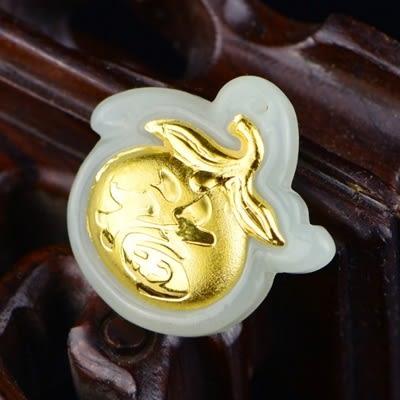 金鑲玉項鍊 和闐玉吊墜-大吉大利生日情人節禮物男女飾品73gf36【時尚巴黎】