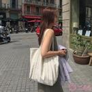 韓國百搭 港風ins帆布袋 慵懶風學生休閒簡約單肩包 大容量包女