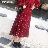 中大尺碼  復古波點A字長裙(內刷薄絨)~共兩色 - 適XL~4L《 67292 》CC-GIRL