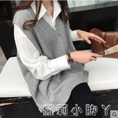 針織馬甲女士2020新款秋季韓版V領外穿坎肩無袖寬鬆毛衣馬甲背心 蘿莉小腳丫