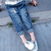 *╮S13小衣衫╭*兒童電繡淘氣甜甜貓牛仔褲長褲1080413