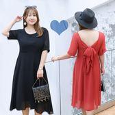 大尺碼  韓版夏季新款大碼女裝 胖mm200斤純色雪紡連身裙女