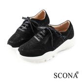SCONA 蘇格南 輕量舒適綁帶休閒鞋 黑色 7313-1