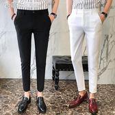 社會精神小伙休閒九分褲男士職業商務英倫小腳西褲裝修身褲子 「繽紛創意家居」