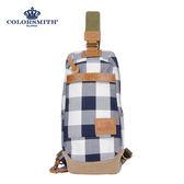【COLORSMITH】CC・雙開式單肩後背包-藍灰格紋・CC1356-GB