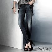 Victoria V字彩鑽低腰窄直筒褲-女-中深藍-VW2103