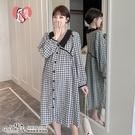 顯瘦娃娃领格子/素面2款 【開扣式】哺乳洋裝【CVH330607】孕味十足 孕婦裝