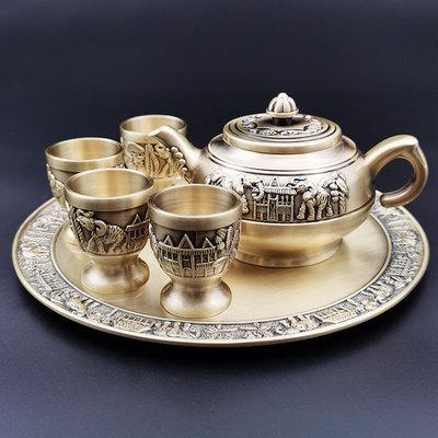 仿古風大象純銅白酒杯一口杯復古青銅雕刻烈酒杯子手工創意小酒盅 「夢幻小鎮」