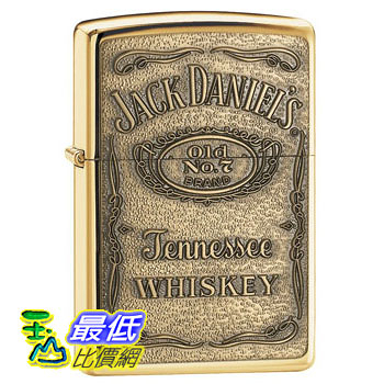 [104 美國直購] Zippo Jack Daniel s Label Brass Emblem Pocket Lighter 打火機
