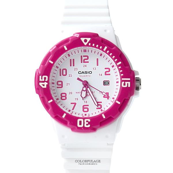 CASIO卡西歐 桃粉白色小巧休閒運動腕錶 時尚女生手錶 膠錶 柒彩年代【NEC64】