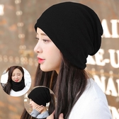 帽子女圍脖套秋保暖套頭帽韓版孕婦產後時尚月子帽冬天包頭堆堆帽  免運快速出貨