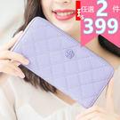 皮夾-現貨販售- 菱格花朵拉鍊長夾 手機錢包 A846系列 女包包