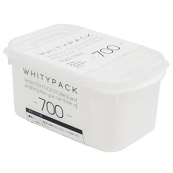 小禮堂 山田化學 日本製 方形微波保鮮盒 700ml (白色款) 4965534-15422