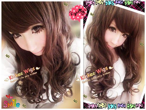 *╮Kinkee假髮╭*日本p牌VIVI雜誌麻豆甜美放電小惡魔款耐熱長捲髮【P0019】