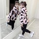 女童套裝女童套裝加絨加厚洋氣休閒兩件套秋冬新款中大童女孩時髦童 快速出貨