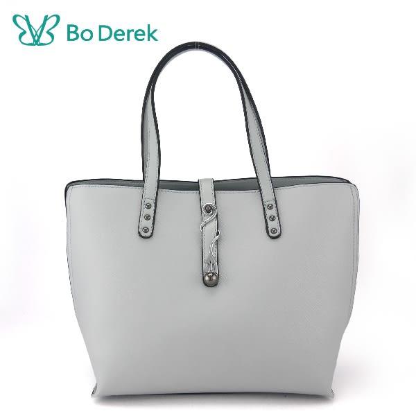 【BO DEREK】造型曲線飾扣防刮手提/斜背包-藍灰