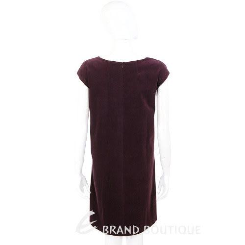 HACHE 酒紅色絨質短袖洋裝 0940080-83
