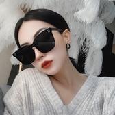 網紅潮款連體無邊框超黑色偏光墨鏡女大框圓臉街拍太陽鏡方框眼鏡