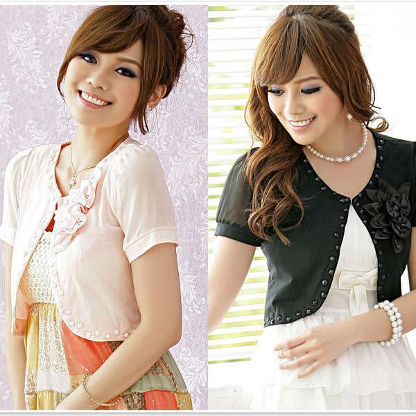 中大尺碼鑲珠胸花小禮服搭配罩衫小外套~(XL~XXXL)-美之札
