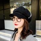 貝雷帽女英倫薄款復古日系百搭夏季字母帽子網紅八角帽韓版潮秋冬  快速出貨