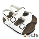 【樂樂童鞋】台灣製跳色小方扣休閒涼鞋-白色 C086-1 - 女童鞋 男童鞋 涼鞋 現貨 台灣製 兒童涼鞋