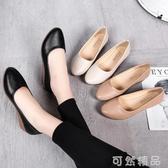 淺口坡跟媽媽單鞋新款圓頭平底舒適套腳女鞋職業工作軟底軟皮 可然精品鞋櫃