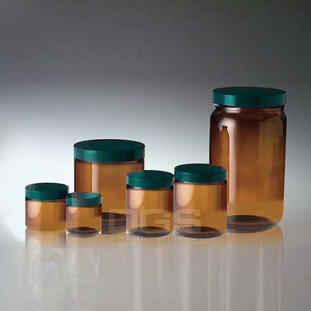 《Qorpak》茶色直筒型玻璃樣本瓶 Amber Straight Sided Round