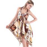 英倫風加大碼吊帶裙 時尚潮女印花吊帶 仿真絲連衣裙《小師妹》yf788