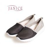 JANICE-基本款混搭平底懶人鞋652051-02(黑)