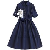 短袖洋裝-翻領拼接印花收腰女連身裙73yd28[時尚巴黎]