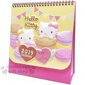 〔小禮堂〕Hello Kitty 2019 立體封面線圈式桌曆《L.黃粉.馬可龍》月曆.日曆.行事曆 4718598-72138
