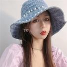 漁夫帽-珍珠作舊水洗牛仔女盆帽3色73x...