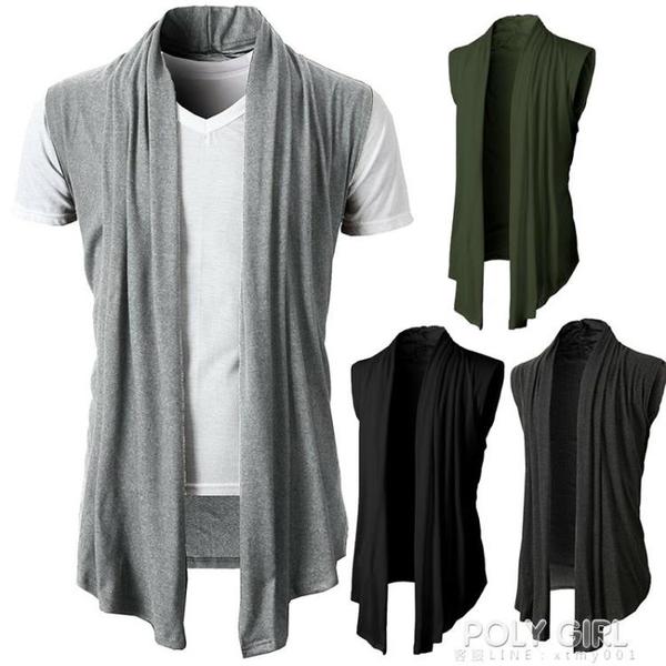 中長款無袖開衫薄款外套春夏針織毛衣肌肉男顯身材個性百搭軍綠色 秋季新品