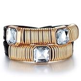 真皮編織手環鑲鑽-圓圈設計生日情人節禮物女手鍊3色73cs45【時尚巴黎】