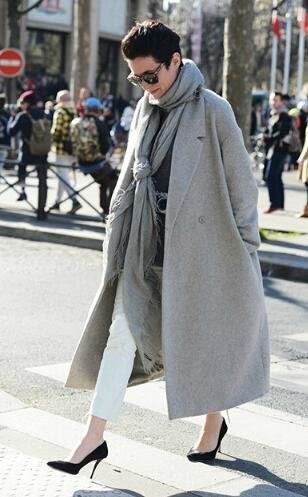 韓版中長款呢子外套開衫M-3XL歐美秋冬藝員姚晨同款長大衣復古廓形羊絨外套加長款女裝MB110C-1790